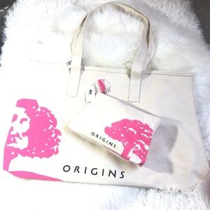🍃✨Origins Over sized tote & matchin makeup bag🍃